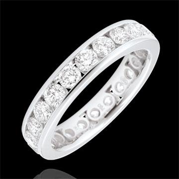 on line sell Weddingring white gold paved - rail setting - 1.9 carat - 23 diamonds