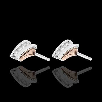 buy on line Earring Precious Nest - Trilogy Diamond - pink gold and white gold - 3 dimaonds - 18 carats