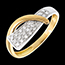 gift woman Siren ring yellow and white gold paved - 20diamonds