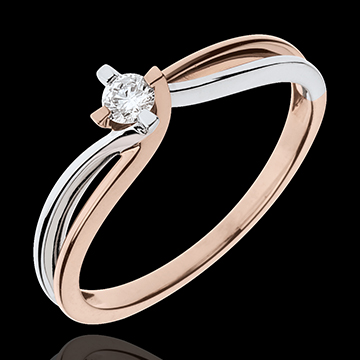 present Ring Precious Nest - Claire - whiet gold. pink gold - 0.11 carat diamond - 18 carats