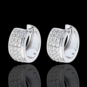 gold jewelry Earrings Constellation - Astral - large size - paved white gold - 0.43 carat - 54 diamonds