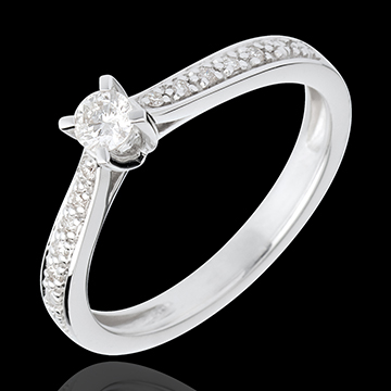 gift women Essential Paved Diamond Set Shoulder - white gold