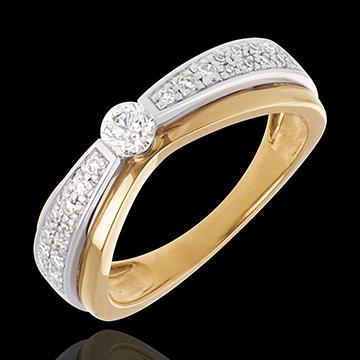 Geschenke Frau Solitär Maharajah in Weiss- und Gelbgold - 0.38 Karat - 27 Diamanten