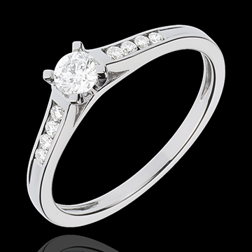 gold jewelry White Gold Altesse Side Stone Rings - 0.31 carats - 9 Diamonds - 9 carat