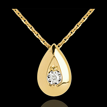 gift women Teardrop necklace yellow gold with diamond