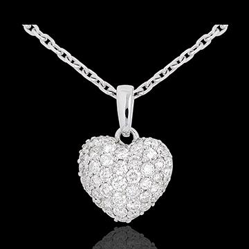 cadeaux femmes Pendentif coeur pavé or blanc et belière - 0.67 carat - 50 diamants