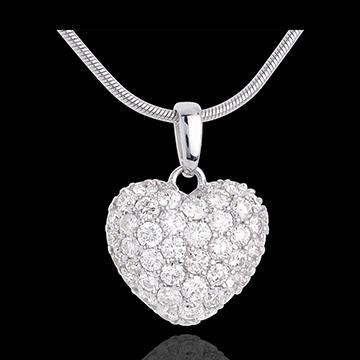 online kaufen Anhänger Funkelndes Herz in Weissgold - 1.04 Karat - 50 Diamanten