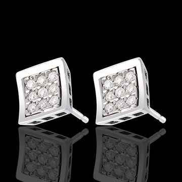 sell on line Frame Stud Earrings - paved white gold - 0.27 carat - 18 diamonds