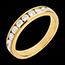 Fede nuziale - Oro giallo semi pavé -18 carati - 10 Diamanti - incastonatura a binario - 0.65 carati