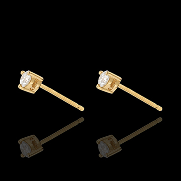 gifts women Yellow Gold Diamond Chip Joya Stud Earrings