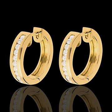 women Hoops yellow gold inlaid diamonds - 0.33 carat - 22 diamonds