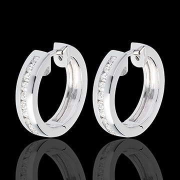gifts Hoops white gold inlaid diamonds - 0.33 carat - 22 diamonds