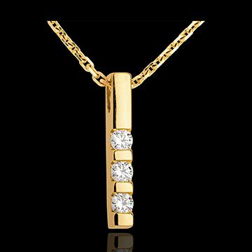 Geschenk Frau Anhänger Trilogie in Gelbgold - 0.22 Karat - 3 Diamanten