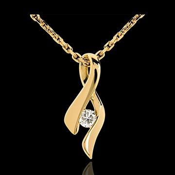 Goldschmuck Anhänger das Kostbarer Kokon - Unendlichkeit - Gelbgold- Diamant