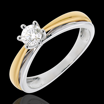 on-line buy Double Arch Solitaire Ring in White Gold and Yellow Gold - 0.34 carat