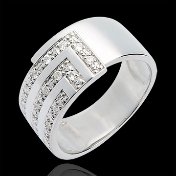 sell Cubic diamond paved ring white - 17diamonds