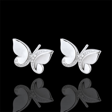 gift Earrings Imaginary Walk - Studs Butterfly Cascade- white gold and diamonds