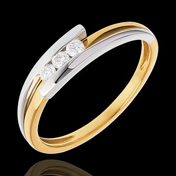 Geschenke Frauen Trilogie das Kostbarer Kokon - Anziehungskraft - Gelb und Weißgold- 3 Diamanten 0. 12 Karat