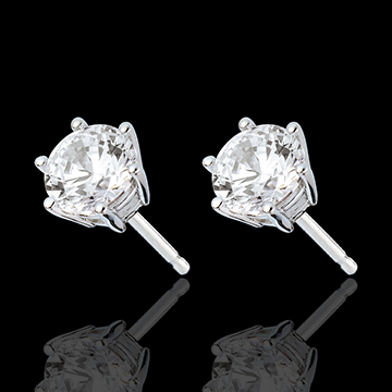 gift Stud Earrings white gold - 6 prong diamond - 2 carat