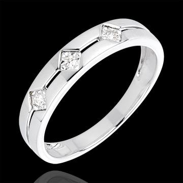 Geschenke Frau Diamantring Trilogie Raute Weißgold