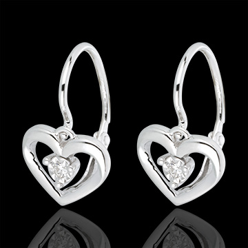 gift woman White Gold and Diamond My Love Earrings