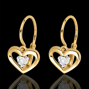 buy Yellow Gold and Diamond My Love Earrings