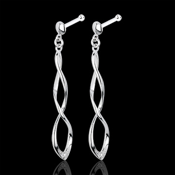 gift woman White Gold and Diamond Spectacle Earrings
