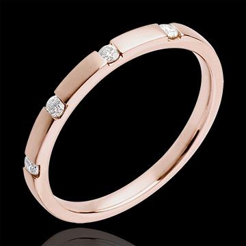Juwelier Trauring in Rotgold - seitlich offene Kanalfassung - 4 Diamanten