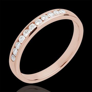 Geschenk Frauen Trauring zur Hälfte mit Diamanten besetzt in Rotgold - Kanalfassung - 11 Diamanten