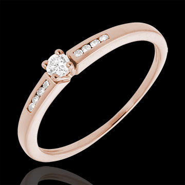 women Solitaire Ring - Pink gold and diamond