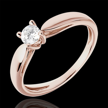 wedding Solitaire Ring Sprig - Pink gold - 0.25 carat