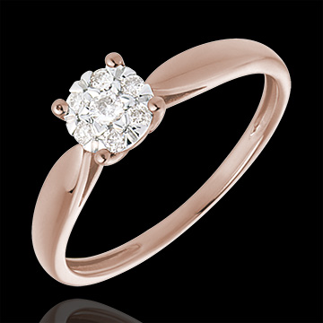 gift women Solitaire Ring - Pink gold and diamond