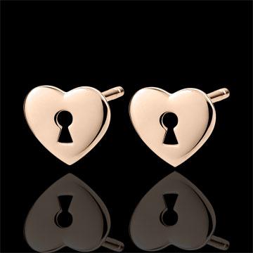 women Earrings Precious Secret - Heart - Rose Gold