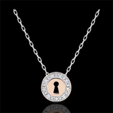 Geschenk Collier Kostbares Geheimnis - Weißgold, Roségold und Diamanten
