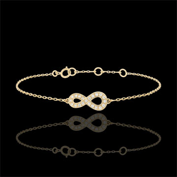 gift women Infinity bracelet - Yellow gold and diamonds