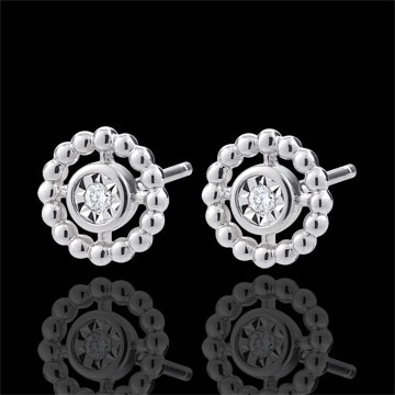 gifts woman Earrings Salty Flower - Circle - White Gold