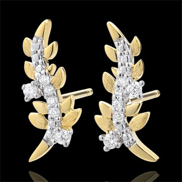 gift women Earrings Enchanted Garden - Foliage Royal - Yellow gold and diamonds - 9 carat