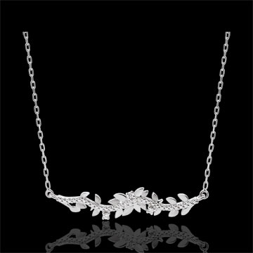 women Necklace Enchanted Garden - Foliage Royal - White gold and diamonds - 9 carat