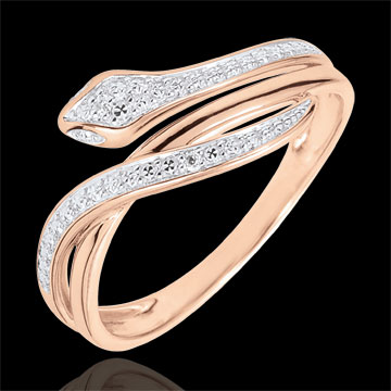 gifts women Imaginary Walk Ring - Bewitching Serpent - rose gold and diamonds - 18 carats