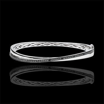 gift Bangel Bracelet Saturn Duo - white gold - black diamonds - 18 carats