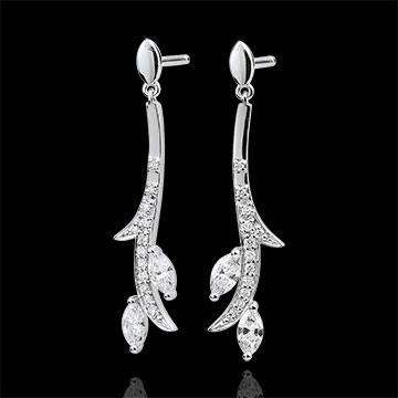 present Earrings Mysterious Woods - white gold and diamonds boats - 18 carats