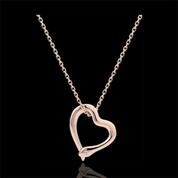 gift woman Necklace Imaginary walk - Snake of love - small model - rose gold diamond- 9 carats