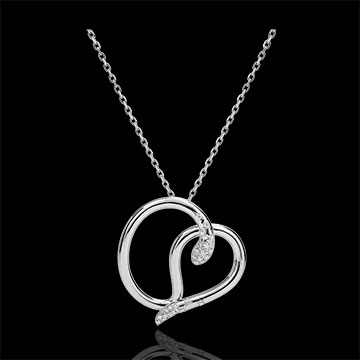 on-line buy Necklace Imaginary walk - Snake of love - white gold diamonds - 9 carats