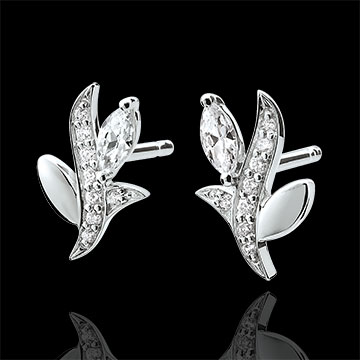 gift Earrings Mysterious Woods - white gold and diamonds boats - 9 carats