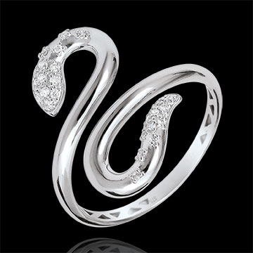 on line sell Ring Imaginary walk - Snakelike Love - white gold diamonds - 9 carats
