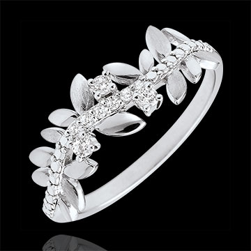 gift Ring Enchanted Garden - Foliage Royal - large model - white gold and diamonds - 18 carats