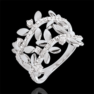on line sell Ring Enchanted Garden - Foliage Royal - double - white gold and diamonds - 9 carats