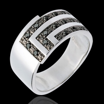 sales on line Ring Set Square - White gold and black diamonds