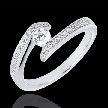 Geschenk Kombinierter Solitärring Kostbarer Kokon - Versprochen - Weißgold - Diamant 0. 22 Karat - 9 Karat