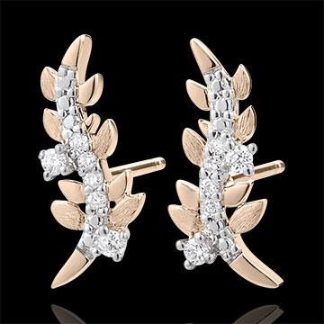 wedding Earrings Enchanted Garden - Foliage Royal - Pink gold and diamonds - 18 carat